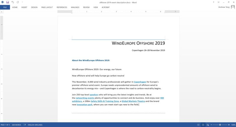 WindEurope 2019 Bilbao text