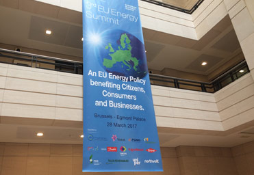 Brussels EU energy summit hall banner